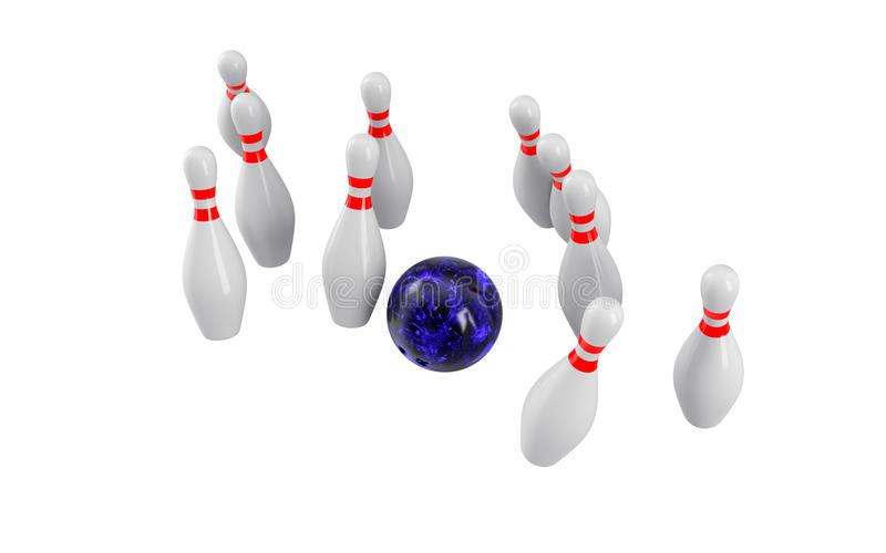 Sfera di bowling che si arresta nei perni rappresentazione 3d fotografia stock