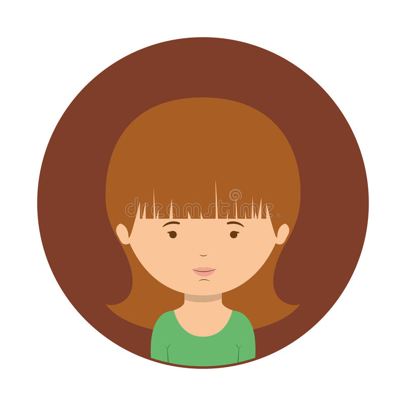 Sfera di Brown di mezza donna del corpo con la maglietta verde illustrazione vettoriale