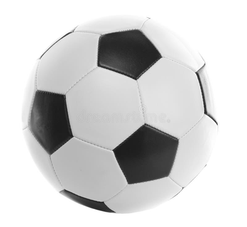 Sfera di calcio backlit ed isolata su bianco immagini stock