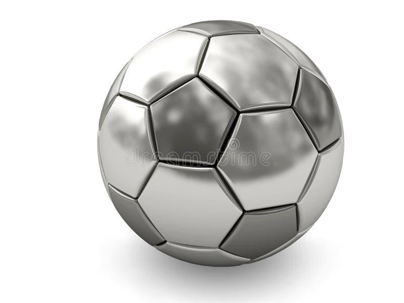 Sfera di calcio del platino o dell'argento su bianco royalty illustrazione gratis