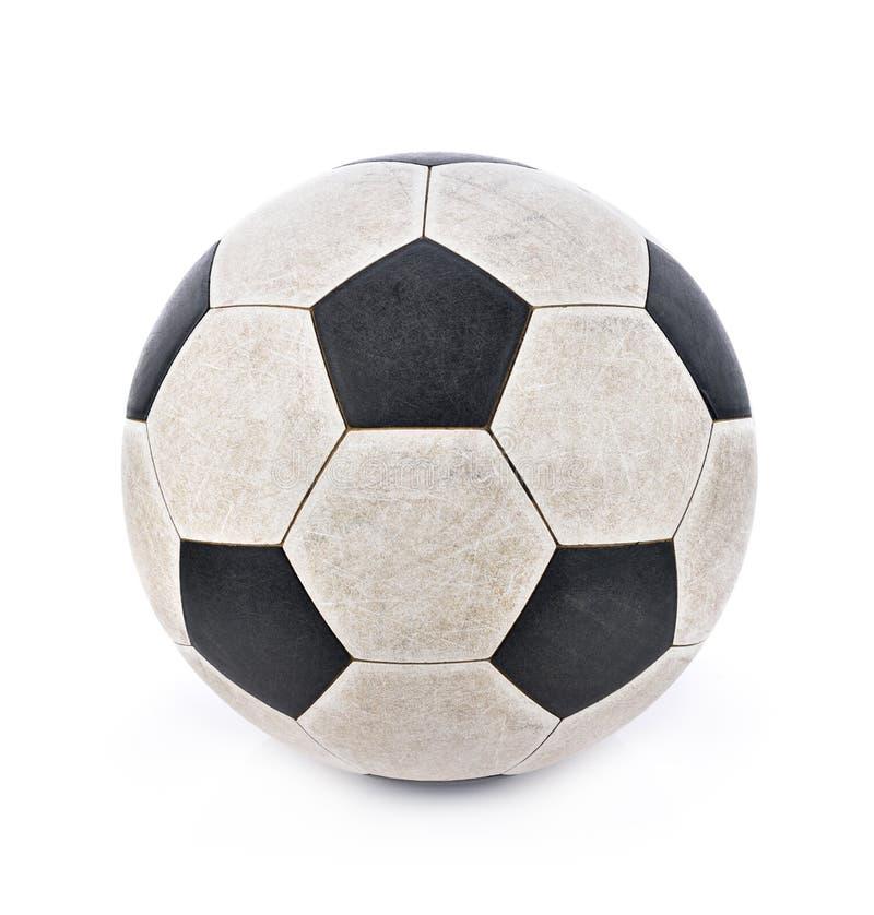 Sfera di calcio sporca su priorità bassa bianca fotografia stock libera da diritti