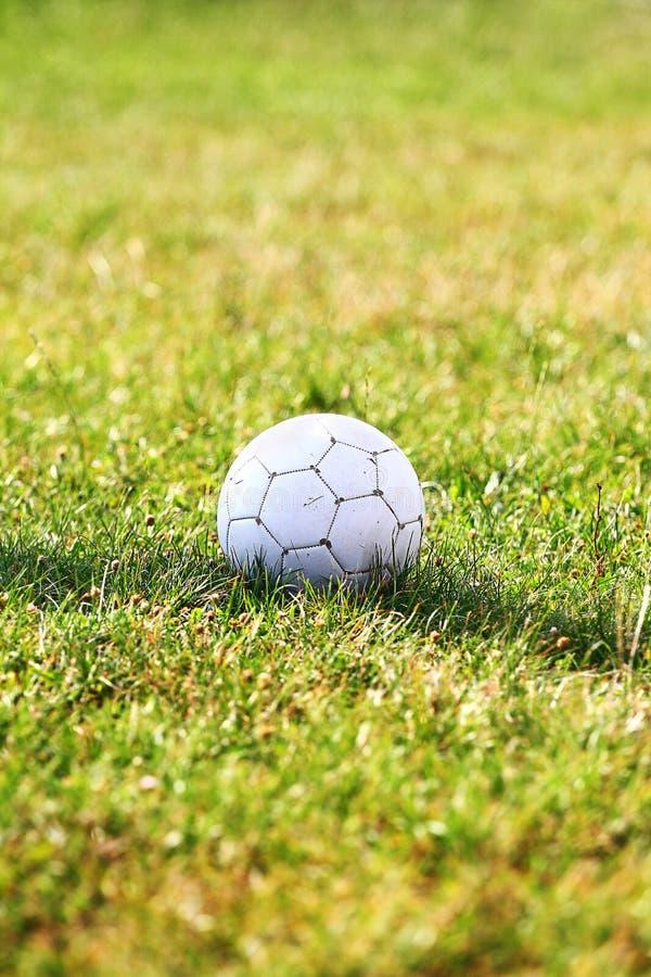 Sfera di calcio sul campo di calcio immagine stock libera da diritti