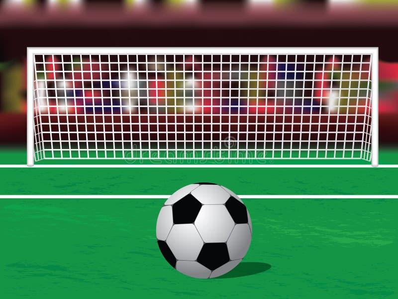 Sfera di calcio sul punto di pena illustrazione vettoriale