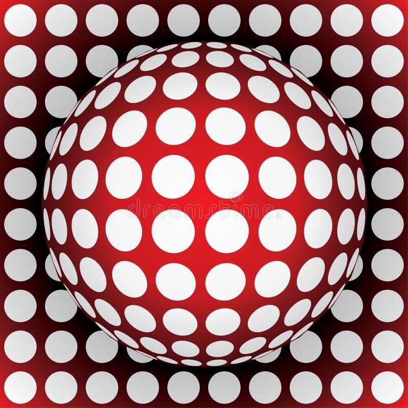 sfera di colore rosso di Op-arte illustrazione di stock