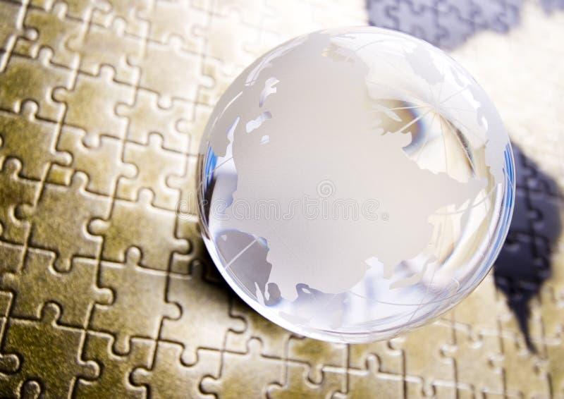Sfera di cristallo & mondo immagine stock