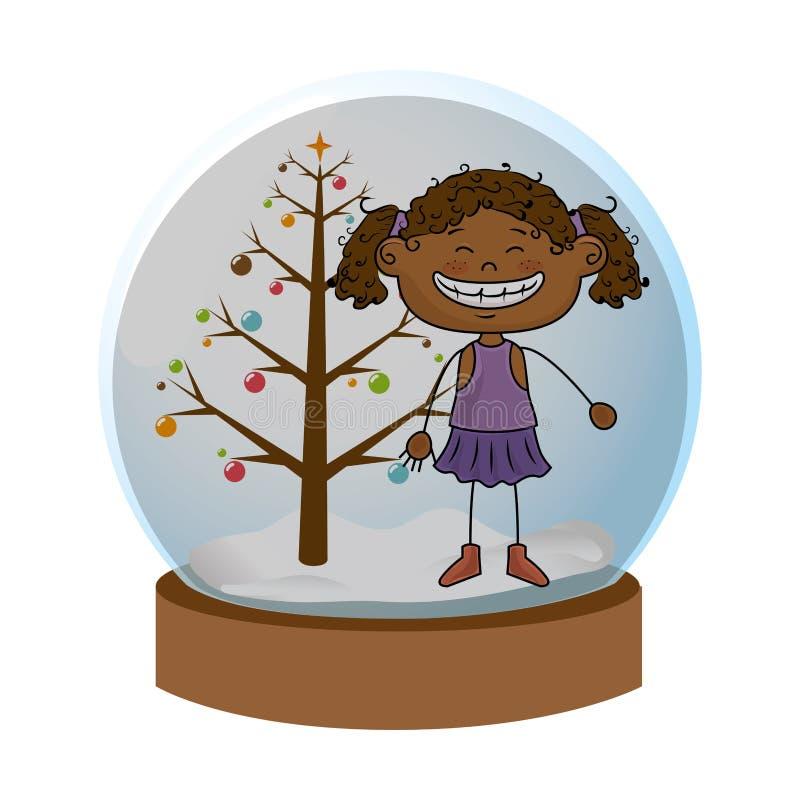 Sfera di cristallo con l'albero di Natale e la ragazza di afro dentro royalty illustrazione gratis