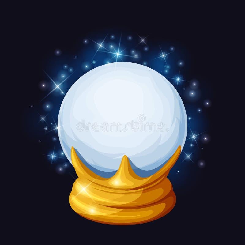 Sfera di cristallo magica con le scintille Illustrazione di vettore illustrazione vettoriale