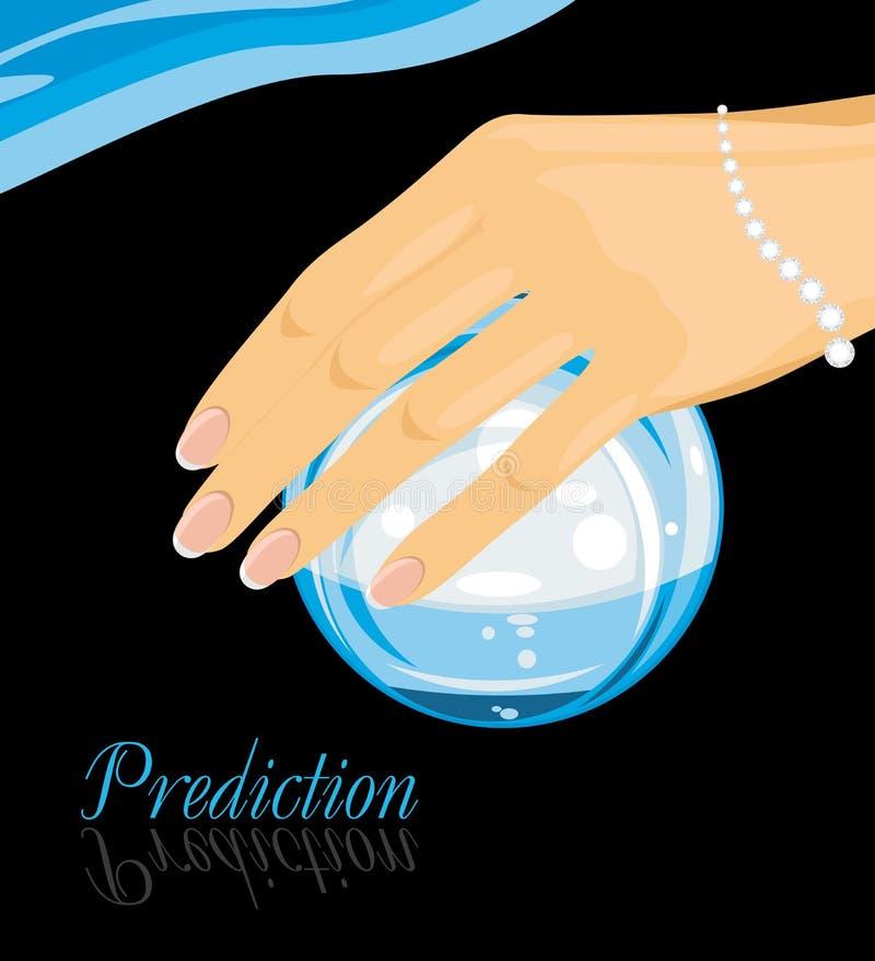 Sfera di cristallo in una mano femminile previsione illustrazione di stock