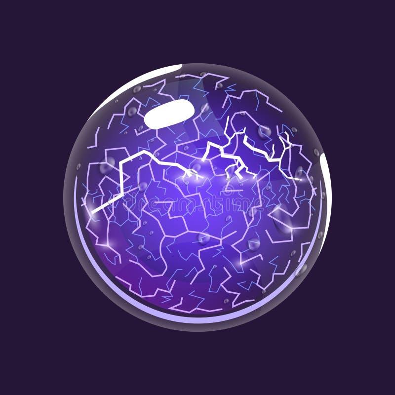 Sfera di elettricità Icona del gioco del globo magico Interfaccia per il gioco rpg o match3 Energia, fulmine, elettrico grande illustrazione vettoriale