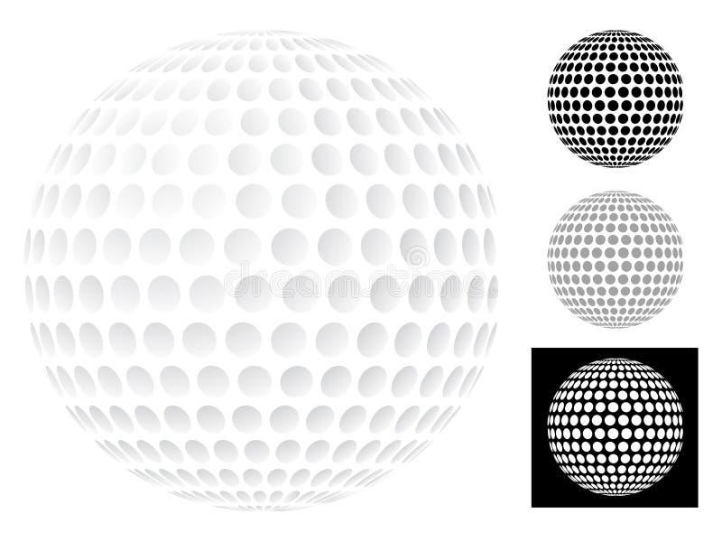 Sfera di golf isolata su bianco illustrazione vettoriale