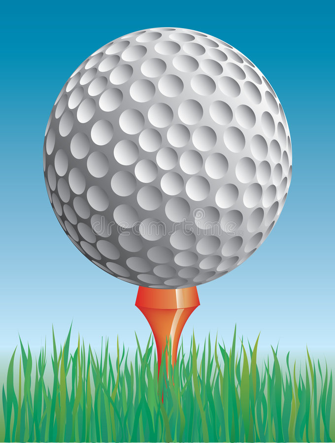 Sfera di golf nell'erba illustrazione vettoriale