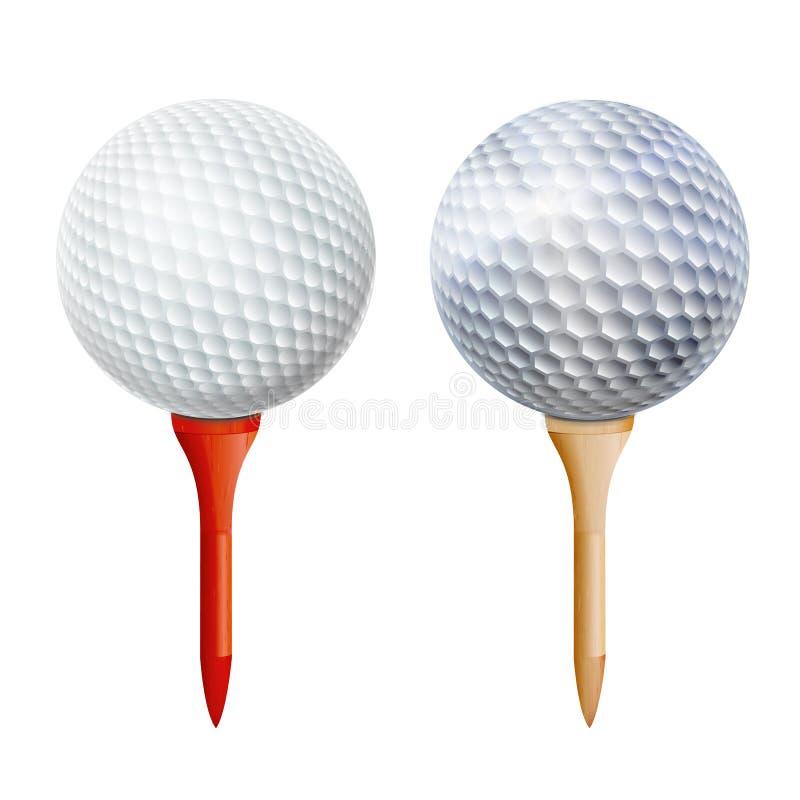 Sfera di golf realistica sul T Illustrazione isolata vettore illustrazione di stock