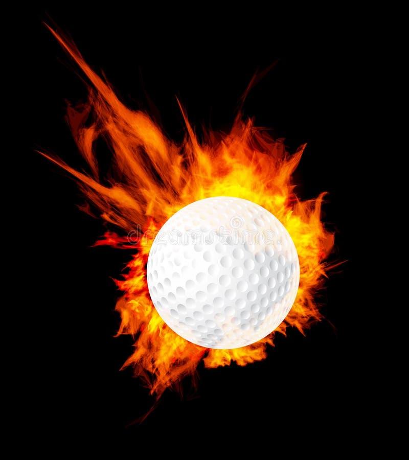 Sfera di golf su fuoco illustrazione di stock