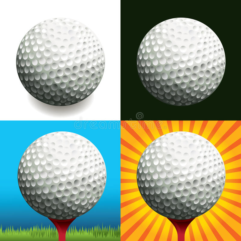 Sfera di golf sugli ambiti di provenienza differenti illustrazione di stock