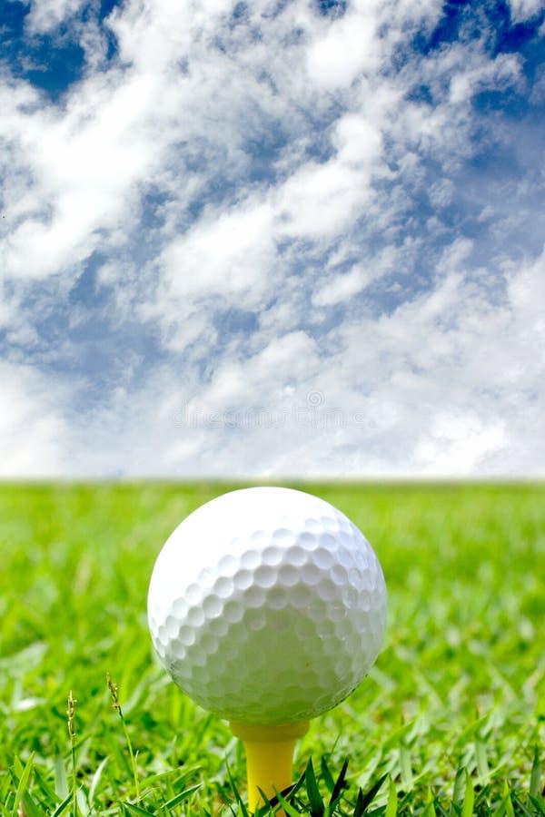 Sfera di golf sul corso fotografia stock