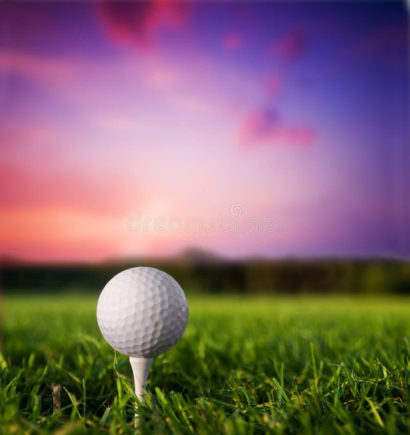 Sfera di golf sul T al tramonto immagini stock