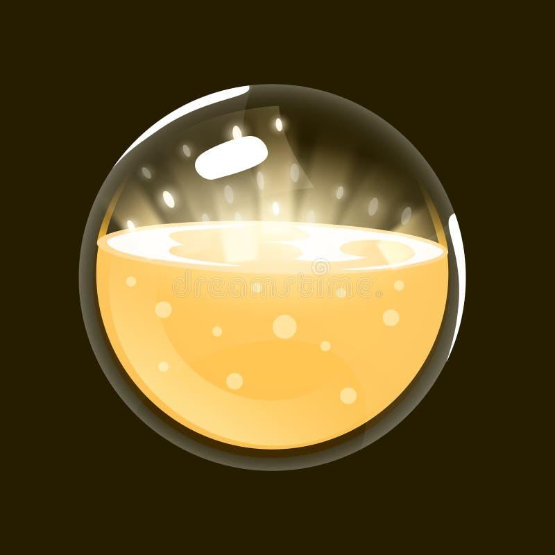 Sfera di indicatore luminoso Icona del gioco del globo magico Interfaccia per il gioco rpg o match3 Sun, luce, energia Grande var illustrazione vettoriale