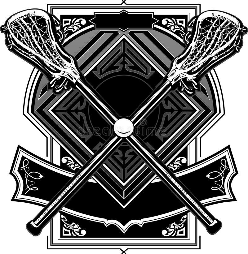 Sfera di Lacrosse e grafico decorato dei bastoni royalty illustrazione gratis