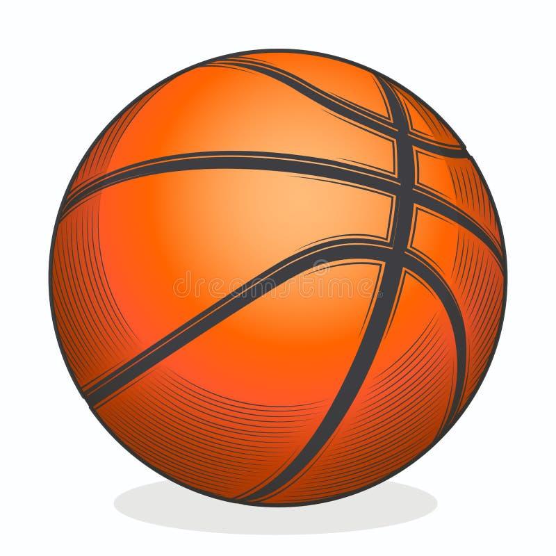 Sfera di pallacanestro isolata su una priorità bassa bianca Linea arte di colore Simbolo di forma fisica royalty illustrazione gratis
