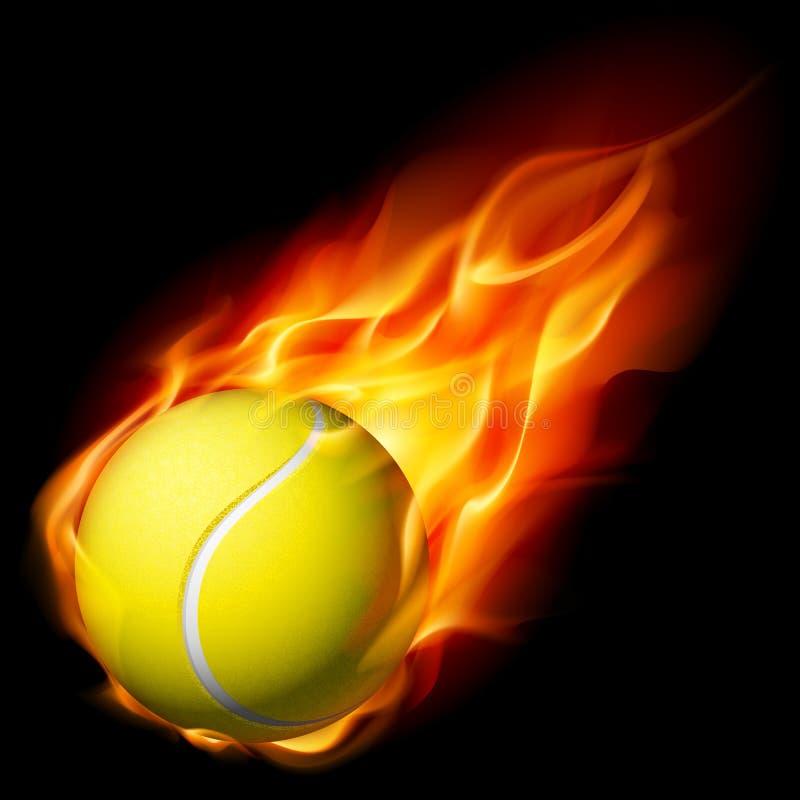 Sfera di tennis ardente illustrazione di stock