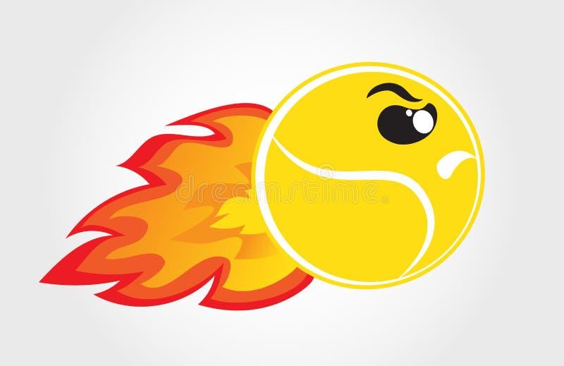 Sfera di tennis su fuoco illustrazione vettoriale