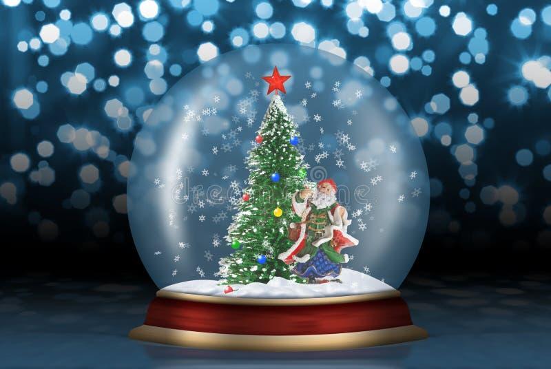 Sfera di vetro con l'abete e Santa royalty illustrazione gratis
