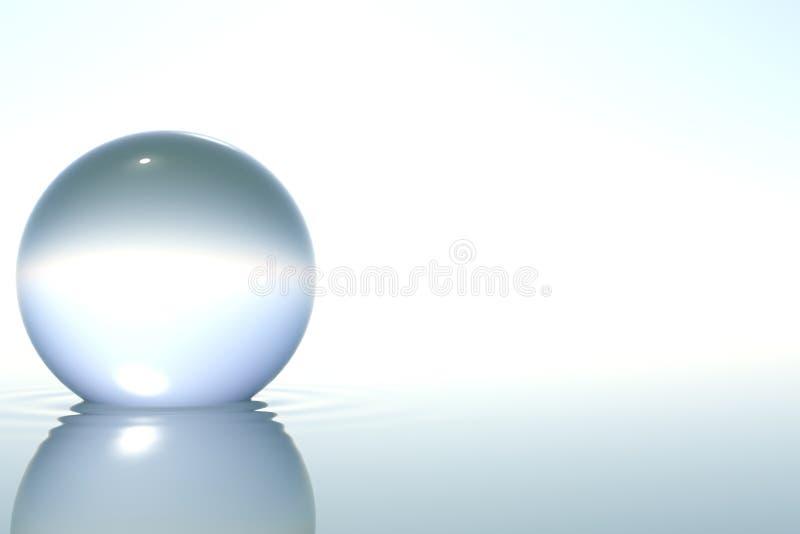Sfera di vetro di zen in acqua su priorità bassa bianca illustrazione di stock