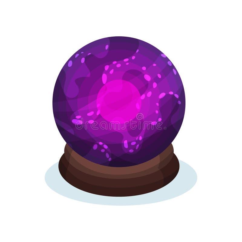 Sfera di vetro porpora con l'ardore rosa luminoso dentro Palla magica dell'indovino Vettore piano per la pubblicità del manifesto illustrazione vettoriale