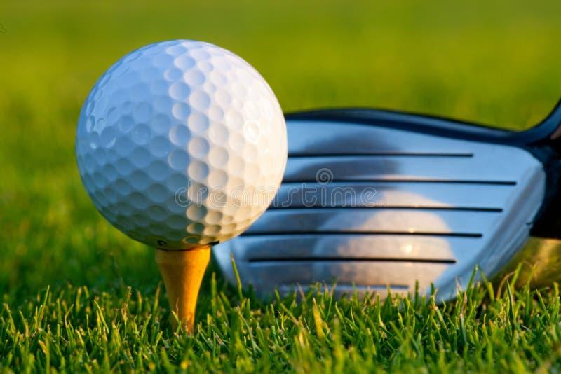 Sfera e driver di golf sul terreno da golf fotografia stock libera da diritti