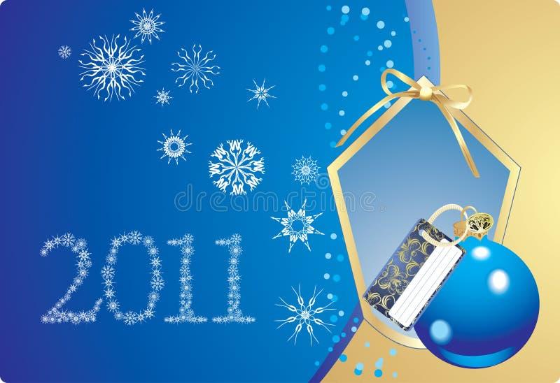 Sfera e fiocchi di neve blu nel telaio decorativo illustrazione di stock