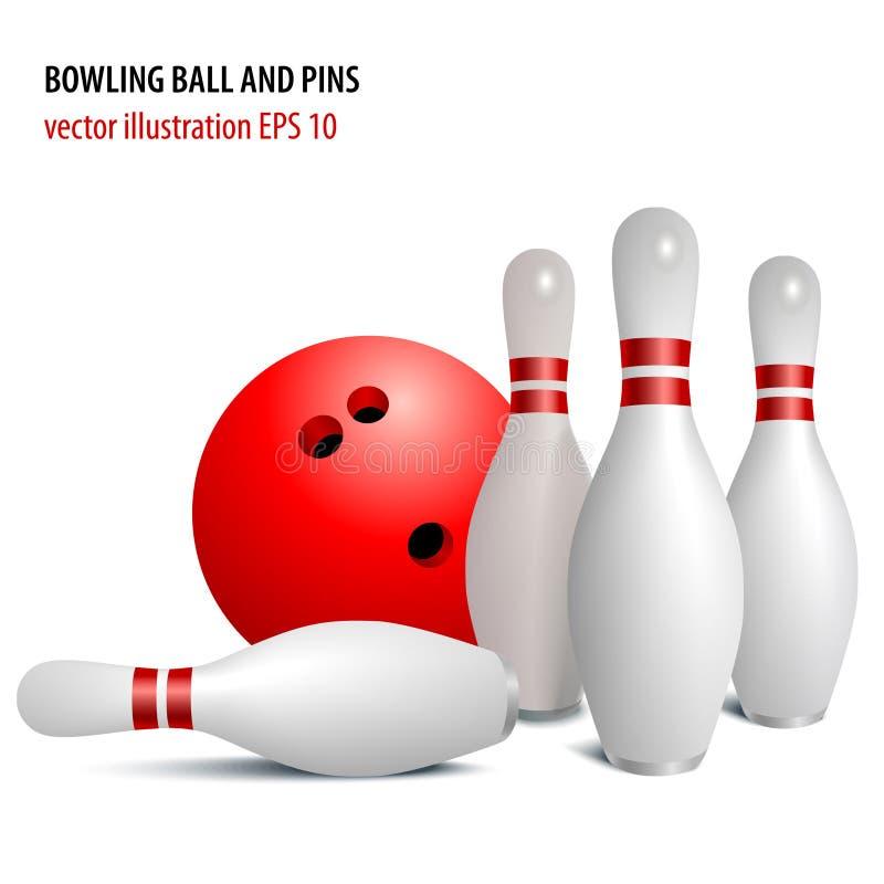 Sfera e perni di bowling isolati su bianco illustrazione vettoriale