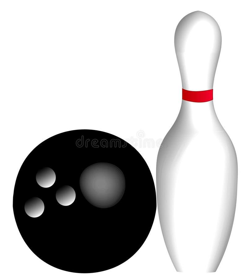 Sfera e perno di bowling illustrazione vettoriale