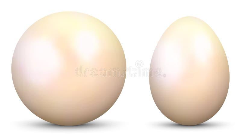 sfera ed uovo di vettore 3D - parallelamente - strutturati con la perla, materiale della madreperla illustrazione di stock