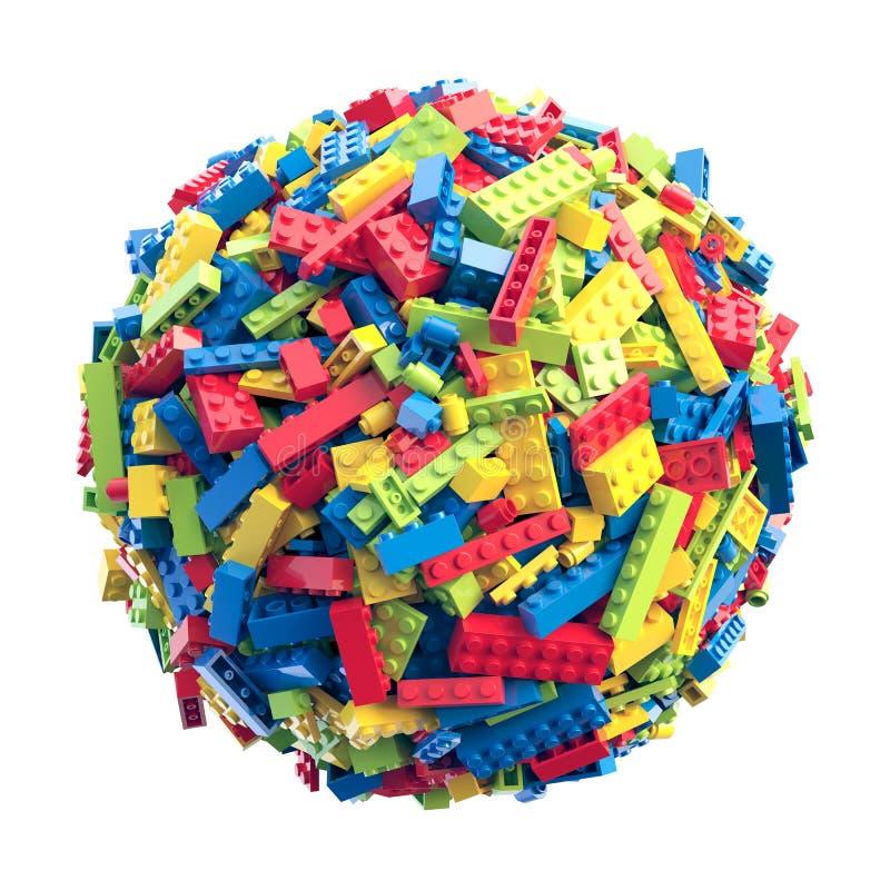 Sfera fatta dei mattoni colorati casuali del giocattolo illustrazione di stock