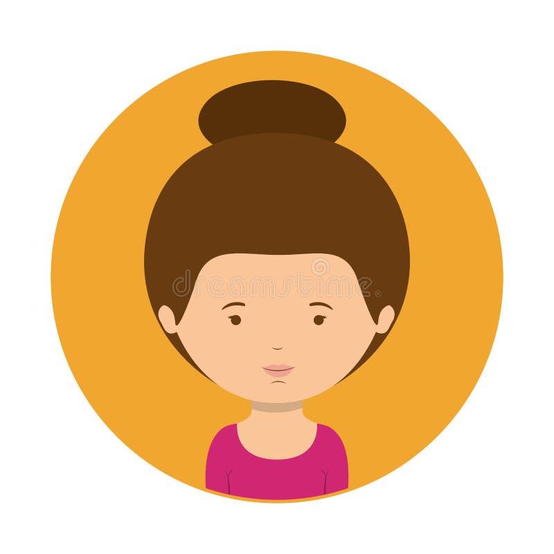 Sfera gialla di mezza donna del corpo con capelli raccolti illustrazione vettoriale