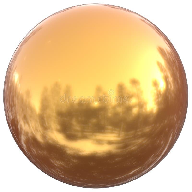 Sfera guzika round złotego balowego podstawowego okręgu geometryczny kształt ilustracji