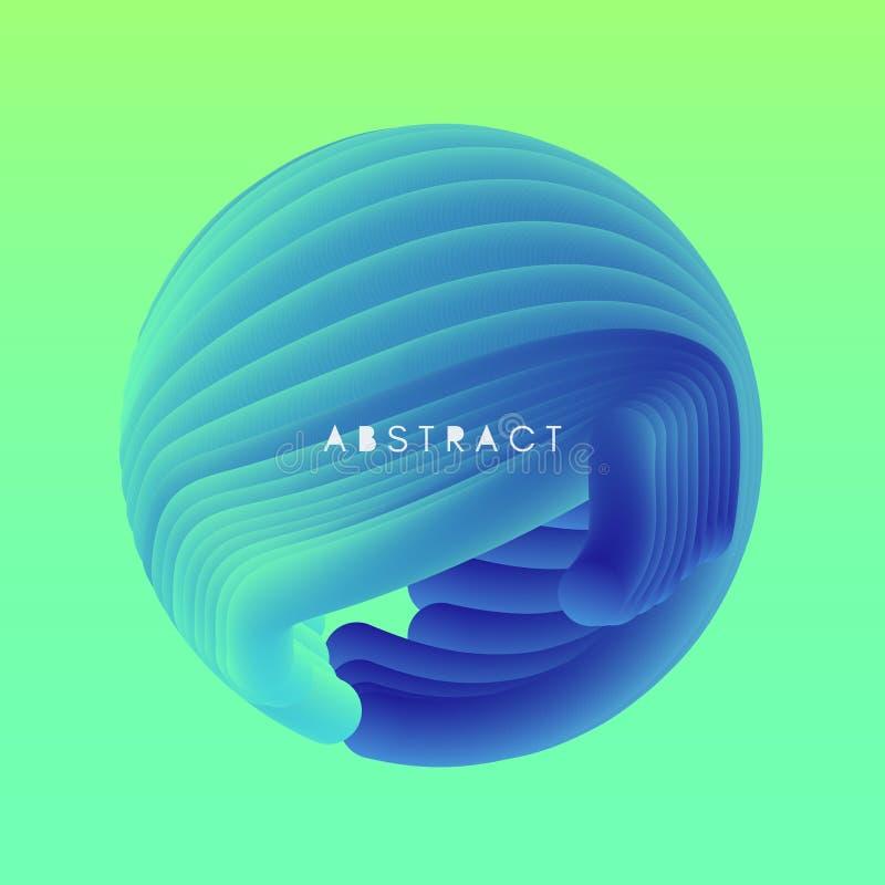 sfera illustrazione ondulata astratta 3D con effetto dinamico illustrazione vettoriale