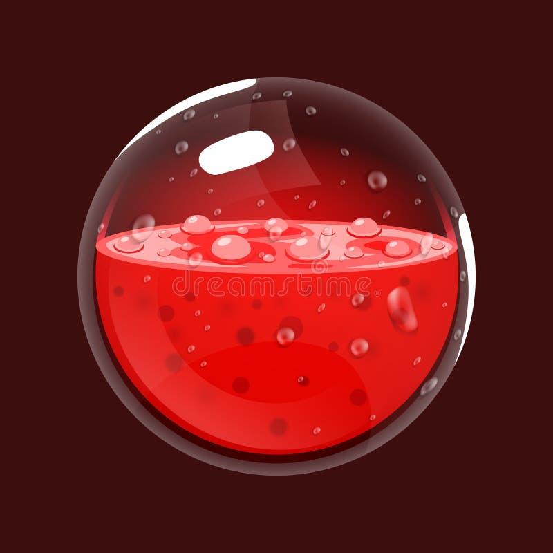 Sfera krew Gemowa ikona magiczny okrąg Interfejs dla rpg lub match3 gry Krew lub życie Duży wariant royalty ilustracja