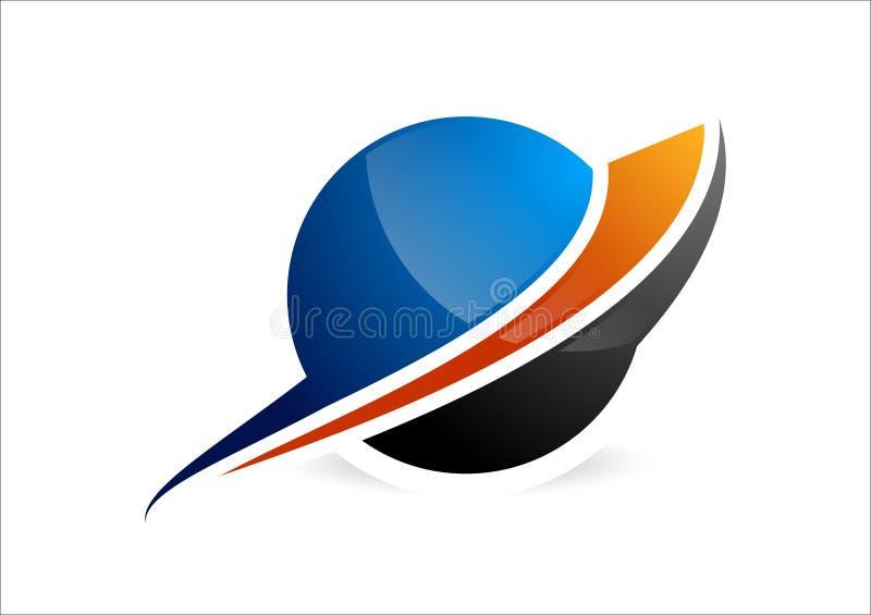 Sfera, logo del cerchio, icona astratta globale di affari e simbolo di società della società illustrazione di stock