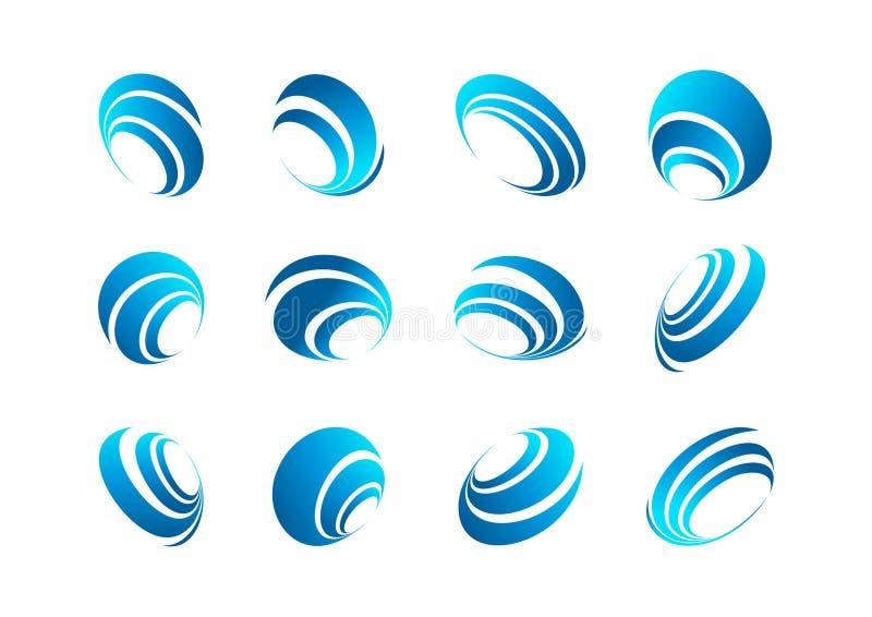 Sfera logo, ziemska ikona, wiatrowy symbol, podłączeniowy okrąg, spinowa planeta, kuli ziemskiej pojęcia wektorowy projekt royalty ilustracja