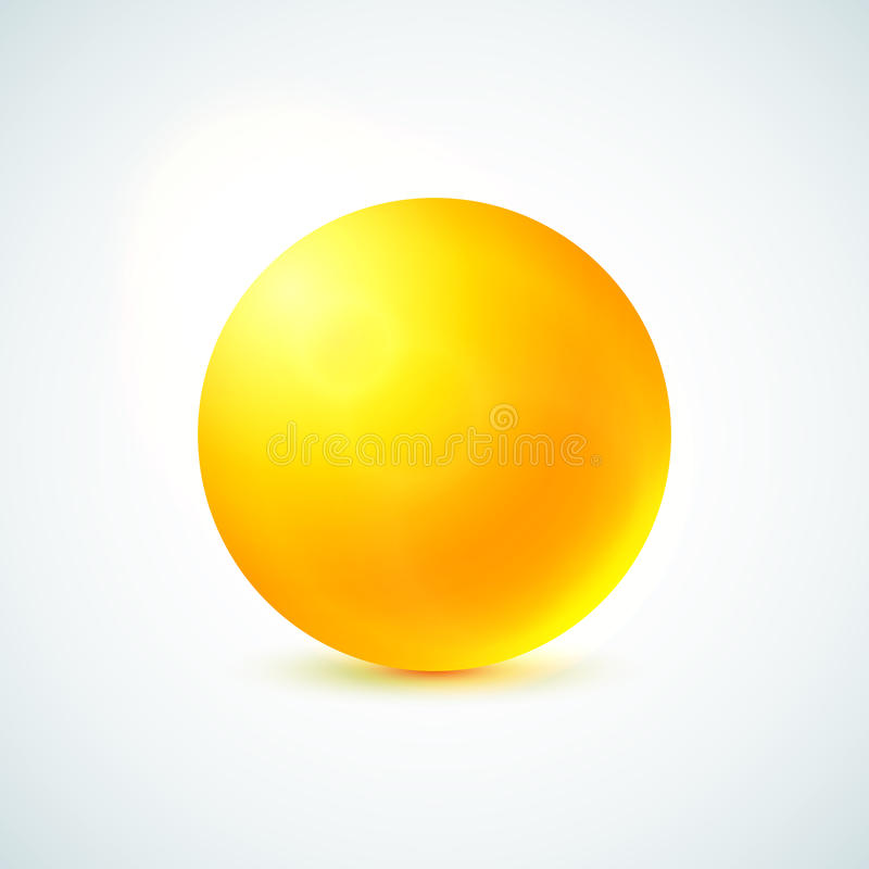 Sfera lucida gialla isolata su bianco illustrazione vettoriale