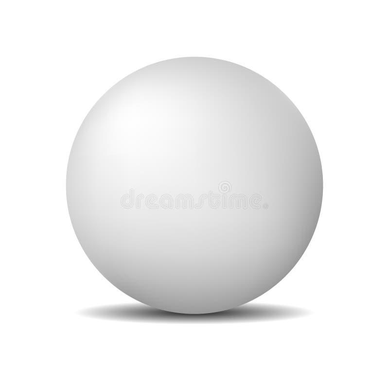Sfera o palla rotonda bianca Matte Pearl realistico o palla di plastica isolata su fondo bianco Illustrazione di vettore royalty illustrazione gratis