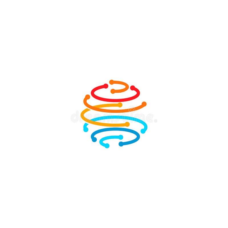 Sfera od kolorowych linii z punktami w guzkach, tworzy planety ziemi kształt Komunikacyjna kuli ziemskiej sieci technologia royalty ilustracja