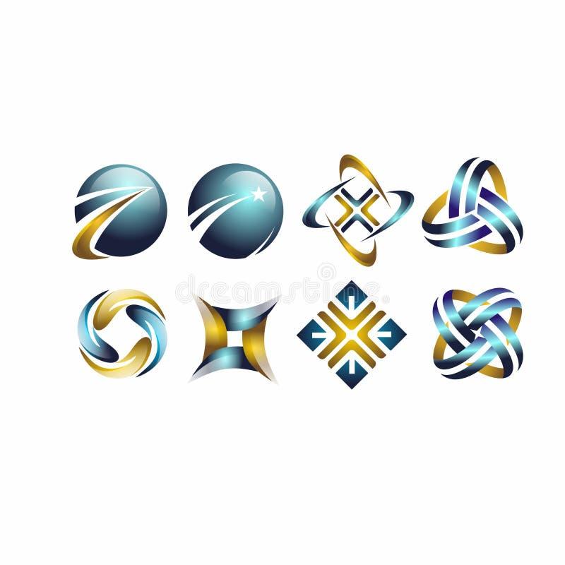 Sfera, okrąg, logo biznesowy, globalny, abstrakcjonistyczny, firma, korporacja, nieskończoność, set round ikony symbolu wektorowy zdjęcia stock