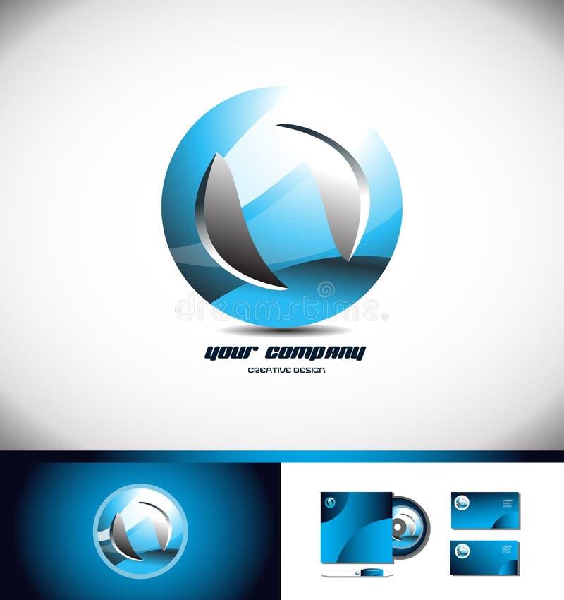Sfera okręgu loga błękitna ikona 3d ilustracji