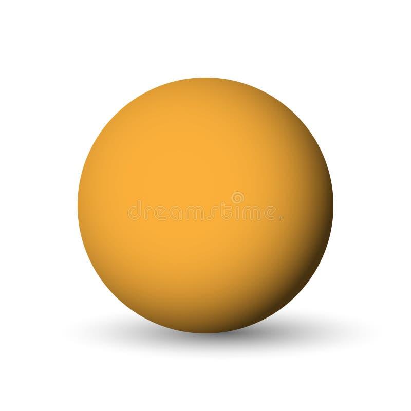 Sfera, palla o globo arancio oggetto di vettore 3D con ombra caduta su fondo bianco royalty illustrazione gratis