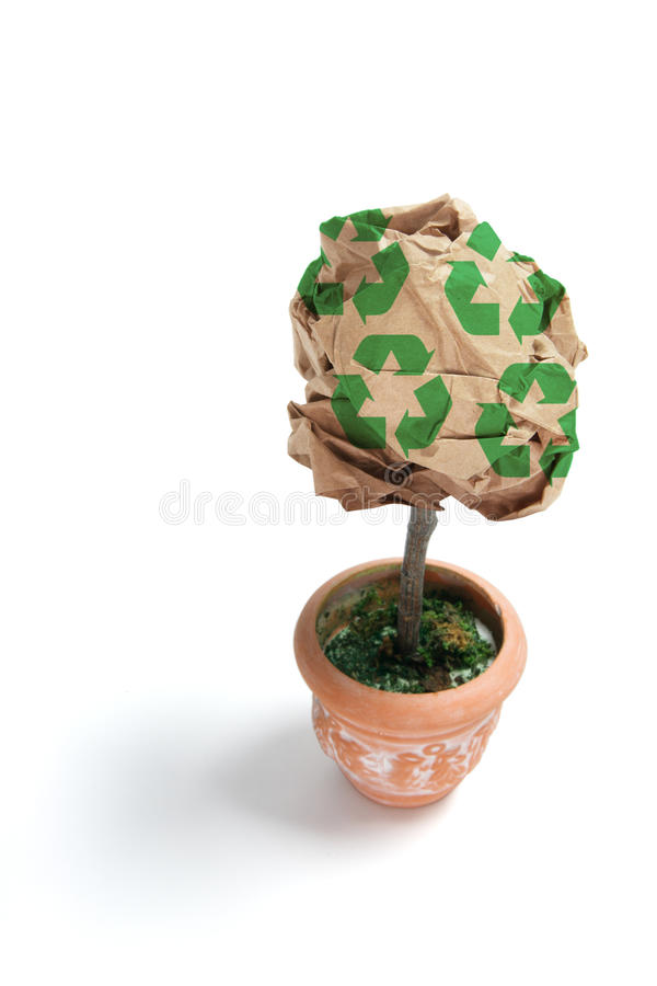 Sfera Potplant del documento di Brown immagini stock