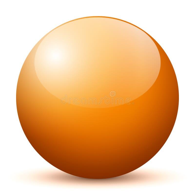 Sfera - Prosta Pomarańczowa Błyszcząca 3D sfera z Jaskrawym odbiciem - Wektorowa ilustracja royalty ilustracja