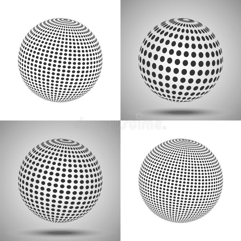 Sfera punteggiata Priorità bassa astratta 3d Insieme di spirito delle sfere di vettore illustrazione vettoriale