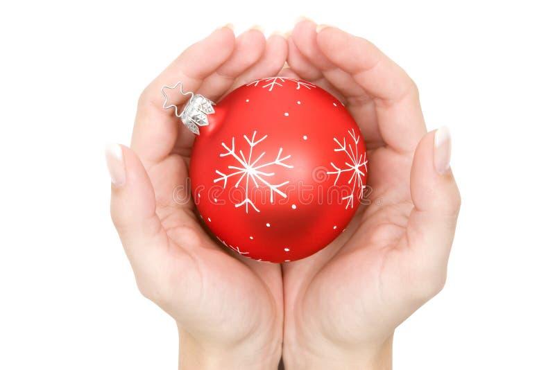 Sfera riparata dell'albero di Natale fotografia stock
